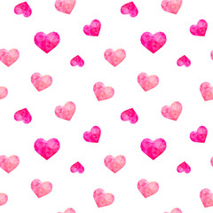 Seamless pattern of polygonal hearts, vector
