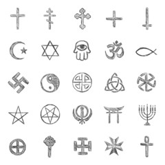 vector set of sketch religious symbols