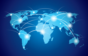 World map with global network