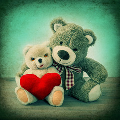 Teddy Bears couple with red heart. Valentines Day