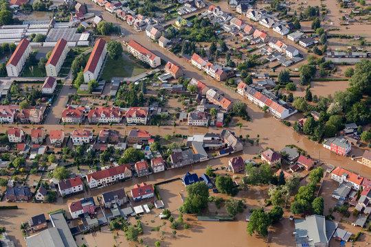 flood-destroyed town/village