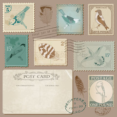 Vintage Postcard and Postage Stamps with Birds - for wedding