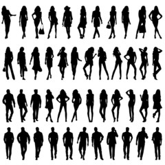 Silhouettes of happy young girls  and men.