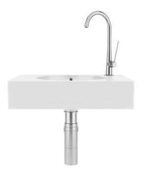 ceramic bathroom sink isolated on white background