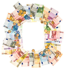 money. variety coins and banknotes. euro currency