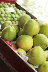 Grapefruit, mango for sale at Damnoen Saduak Floating Market - T