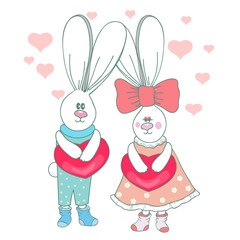 Cute rabbits with hearts.