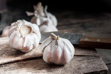 garlic on wood texture