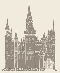 Old medieval castle like a crown vector hand drawing