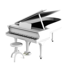 realistic 3d render of piano