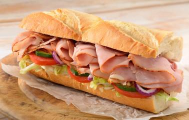 Keuken foto achterwand Snack Ham salad sub sandwich