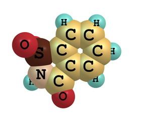 Saccharin molecular structure on white background