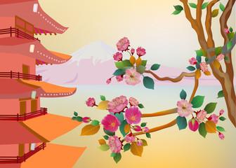 banner on the background of sakura blossoms