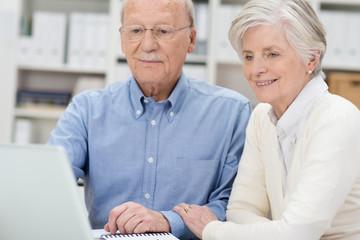 älteres ehepaar schaut auf laptop