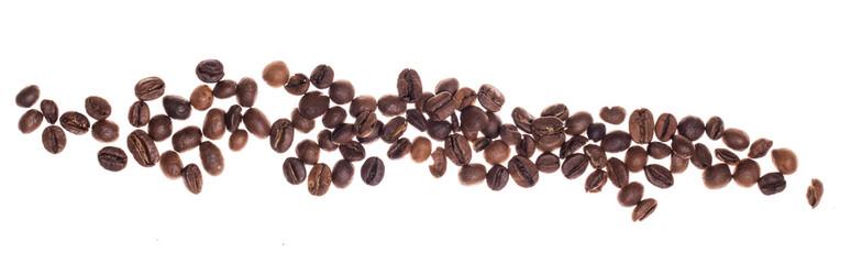 Poster Café en grains Coffe beans over white background