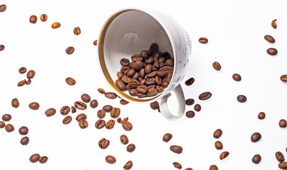 Falling coffee cups and beans