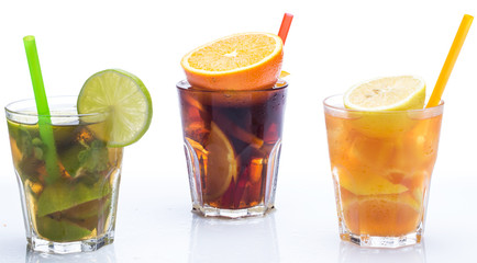Cocktails with different citrus fruits