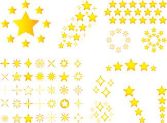 Set of yellow stars illustrated on white background
