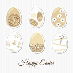 Spring set of easter eggs, elegant patterns, vector
