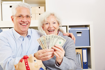 Senior couple with dollar and piggy bank