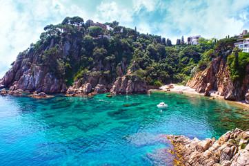 Summer beach. Nature and travel background. Spain, Costa Brava