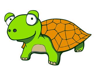 Cute cartoon turtle. Vector illustration