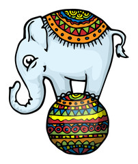 Funny elephant standing on ball