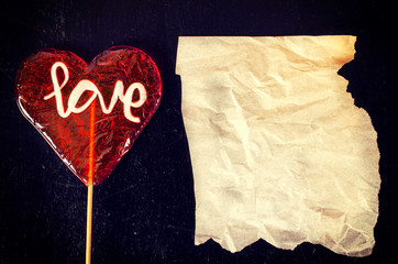 Love and wrinkled paper