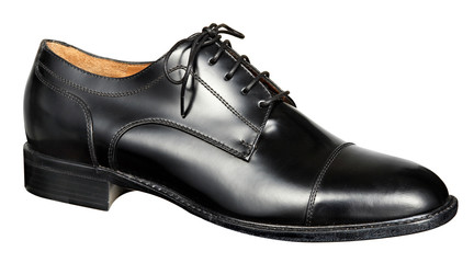 Mans black leather shoe