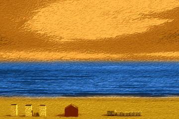 Beach at sunset, impressionist style
