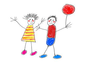 Happy children with ballon
