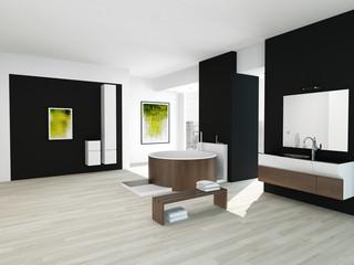 Modern black bathroom interior with wooden round bathtub