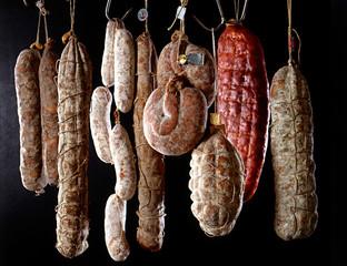 Hanging salamis