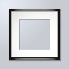 Black wooden frame for art or photos with reflections