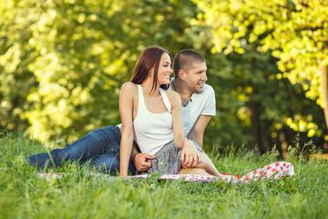 Beautiful couple enjoying in the nature