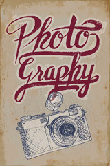 Vintage camera poster on grungy background