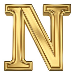3d brushed golden letter - N. Isolated on white.