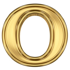 3d brushed golden letter - O. Isolated on white.