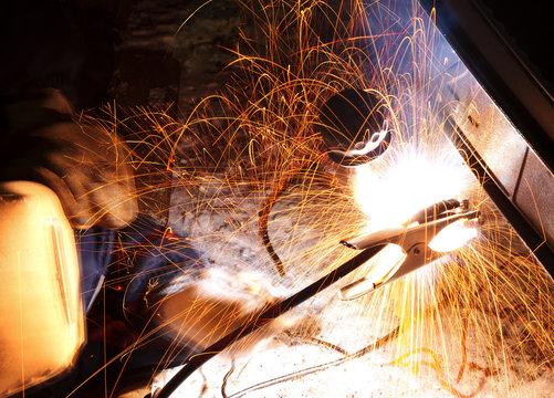 car repairs by welding in field
