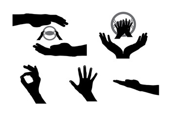 Black Set of Hand. Vector Illustration