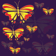 Card design. Stylized vector drawing. Butterflies