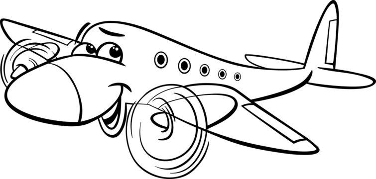 air plane cartoon coloring page
