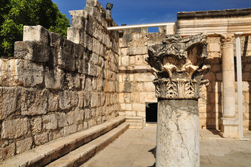 Ruins of ancient synagogue in Capernaum. Israel.