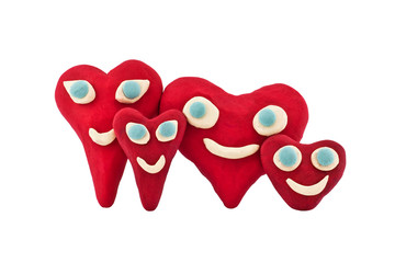 happy family plasticine hearts