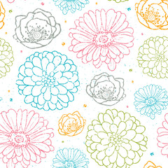 Vector chalk flowers colorful seamless pattern background line