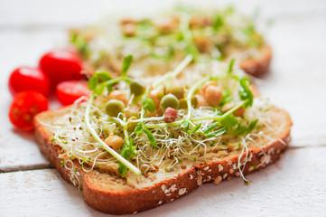 Wall Mural - Healthy vegetarian sandwich with whole grain bread,alfalfa,hummu