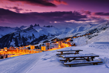 Famous ski resort in the Alps,Les Sybelles,France Wall mural