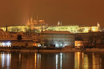 Night romantic snowy Prague gothic Castle, Czech republic