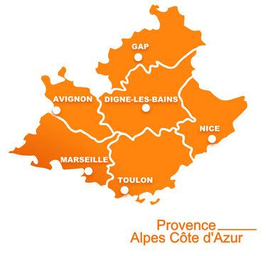 provence alpes cote d'azur région départements et villes