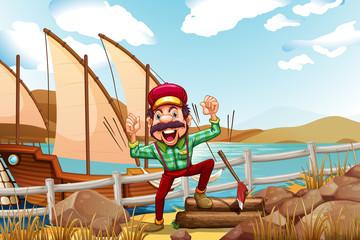 A lumberjack shouting